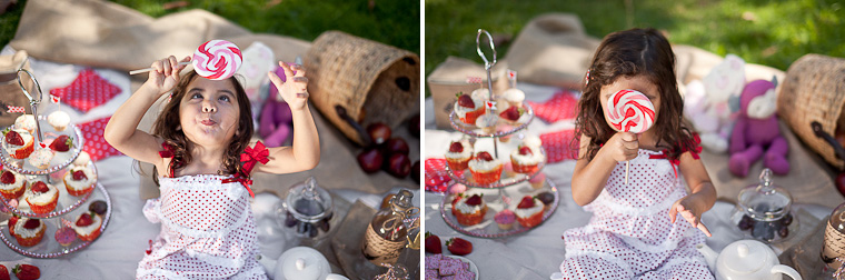Girls family shoot, styled with red and white picnic theme