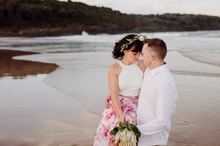 Styled beach engagement shoot taken at Mystics Beach, Shellharbour NSW.